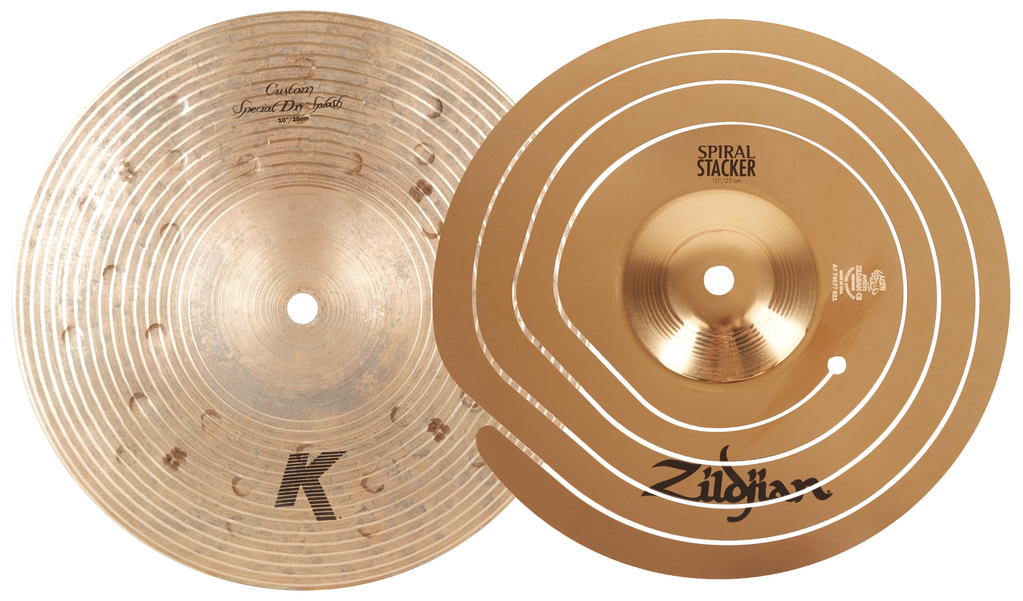 "ZILDJIAN 10"" Spiral Stacker + 10"" K Custom Special Dry Splash Stack"