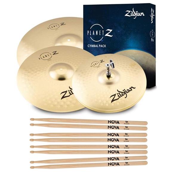 ZILDJIAN Planet Z 4 Cymbal pack + 4 páry paliček NOVA 5A