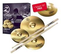 "Planet Z Cymbal Set 4 pack + 10"" Splash + 5 pairs of Zildjian drumsticks for free"