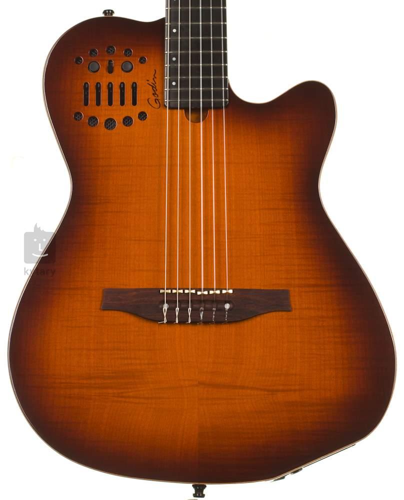 GODIN Multiac ACS-SA Nylon Lightburst Flame HG Electro-Acoustic Midi Guitar