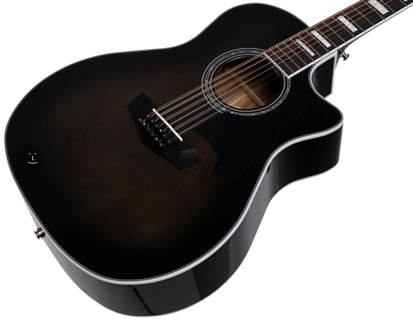 D/'Angelico Premier Fulton 12-String Acoustic-Electric Guitar Grey Black