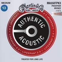 MARTIN Authentic Lifespan 2.0 92/8 Phosphor Bronze Medium - 3 Packs