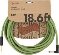 FENDER Festival Instrument Cable 18.6' Pure Hemp Green
