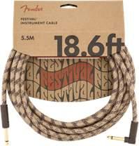 FENDER Festival Instrument Cable 18.6' Pure Hemp Brown Stripe