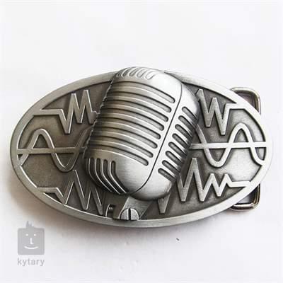 KYTARY.CZ Spona vintage mikrofon stříbrná Oblečení pro muzikanty