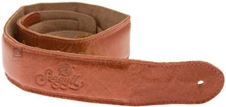 SEAGULL Saddle brown padded leather Kytarový popruh