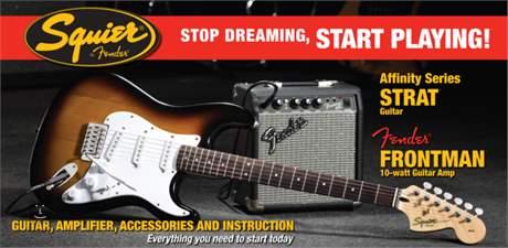 FENDER SQUIER Affinity Stratocaster/Frontman 10G Amp BS Kytarový komplet