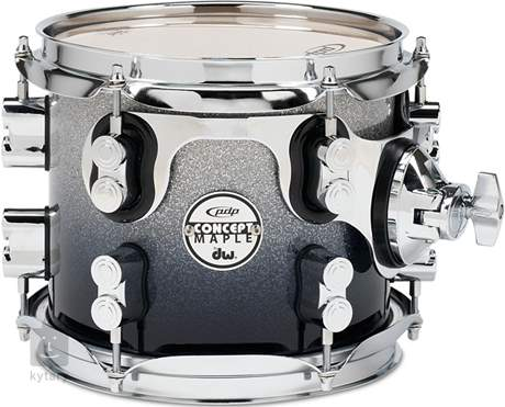 """PDP 8"""" Concept Maple Silver to Black Fade Tom tom"""