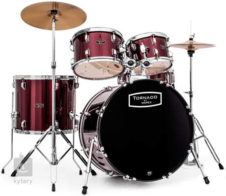 TORNADO Rock set Dark red Bicí souprava s činely