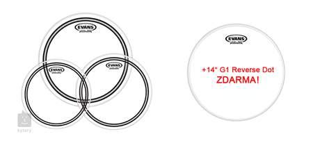 "EVANS EC2 Clear Standard set + 14"" Genera Power Center Reverse Dot for FREE Sada blan na tomy a snare bubínek"