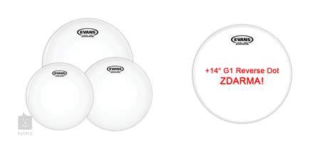 """EVANS G2 Coated Standard set + 14"""" G1 Reverse Dot for FREE Sada blan na tomy a snare bubínek"""