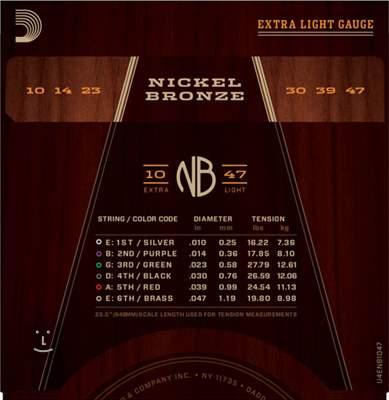 D'ADDARIO NB1047 Kovové struny pro akustickou kytaru