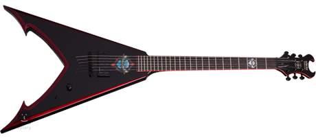 SCHECTER Mike Derks JAW V BLK/RED Elektrická kytara