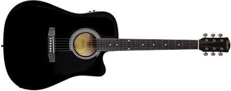 FENDER SQUIER SA-105CE, Dreadnought Cutaway, Black Elektroakustická kytara