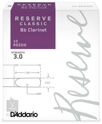 D'ADDARIO Rico Reserve Classic Bb Clarinet 10 - 3.0 Klarinetové plátky