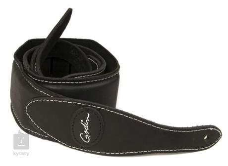 GODIN Black Padded Leather & Suede w/Patch Logo Kytarový popruh