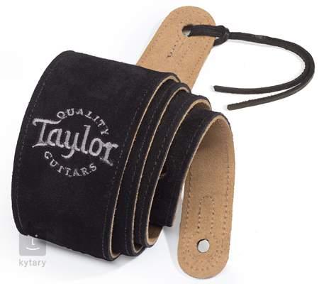 TAYLOR Black Suede Logo Guitar Strap Kytarový popruh