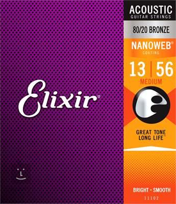 ELIXIR Nanoweb 80/20 Bronze Medium Kovové struny pro akustickou kytaru