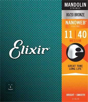 ELIXIR Nanoweb 80/20 Bronze Mandolin Medium Struny pro mandolínu