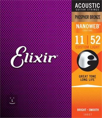 ELIXIR Nanoweb Phosphor Bronze Custom Light Kovové struny pro akustickou kytaru