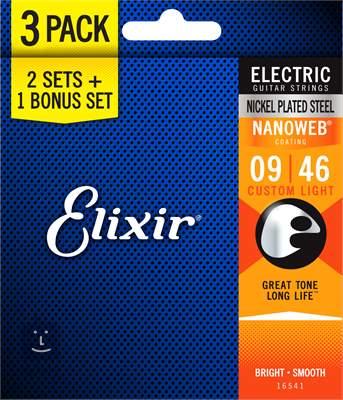 ELIXIR Nanoweb Custom Light 3-Pack Struny pro elektrickou kytaru