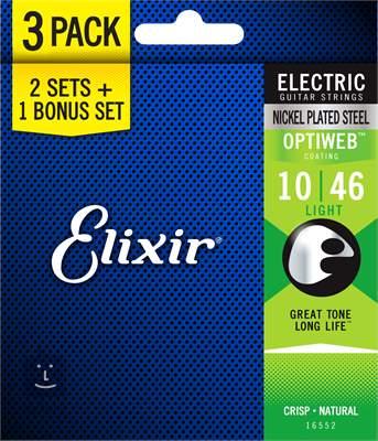 ELIXIR Optiweb Light 3-Pack Struny pro elektrickou kytaru
