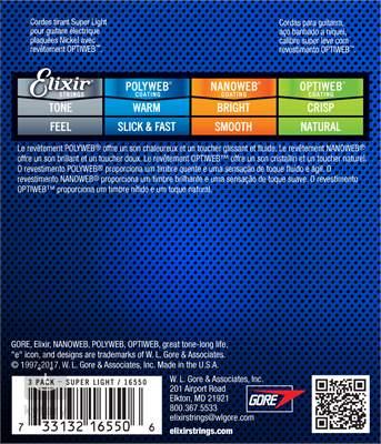 ELIXIR Optiweb Super Light 3-Pack Struny pro elektrickou kytaru