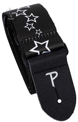 PERRI'S LEATHERS 7022 The Black And White Collection Stars Kytarový popruh