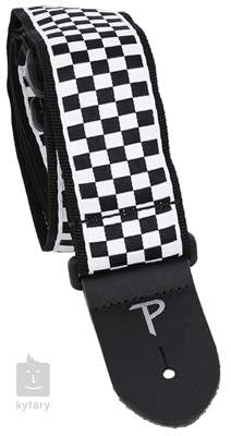 PERRI'S LEATHERS 6547 Jacquard Black And White Checker Kytarový popruh