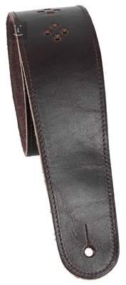 PERRI'S LEATHERS 6707 Perforated Premium Leather Mahagony Kytarový popruh