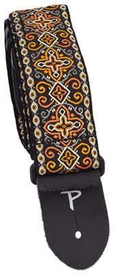 PERRI'S LEATHERS 6726 Jacquard Orange Black Cross Kytarový popruh