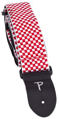 PERRI'S LEATHERS 6728 Jacquard Red And White Checker Kytarový popruh