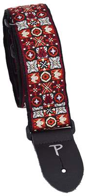 PERRI'S LEATHERS 7007 Jacquard Red Black White X Kytarový popruh