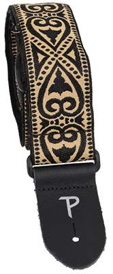 PERRI'S LEATHERS 7033 Jacquard Gold And Black Metallic Kytarový popruh