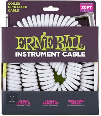 ERNIE BALL Coil Cable Straight/Angled White Nástrojový kabel