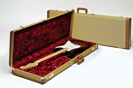Fender Multi-Fit Hardshell Case, Tweed w/ Red Poodle Plush Interior JB