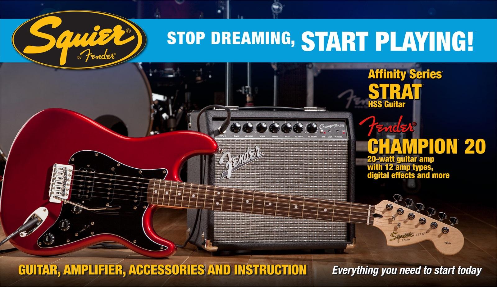 Fender Squier Affinity Stratocaster HSS/Fender Champion 20 Amp CAR