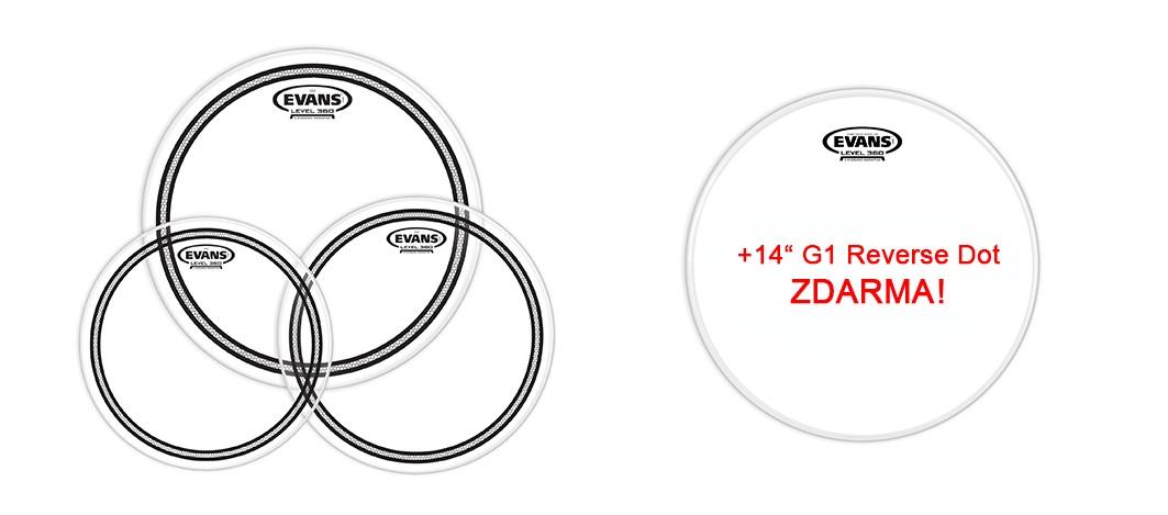 "Evans EC2 Clear Standard set + 14"" Genera Power Center Reverse Dot for FREE"