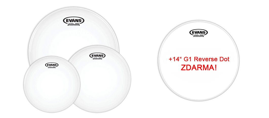 "Evans G2 Coated Rock set + 14"" G1 Reverse Dot for FREE"