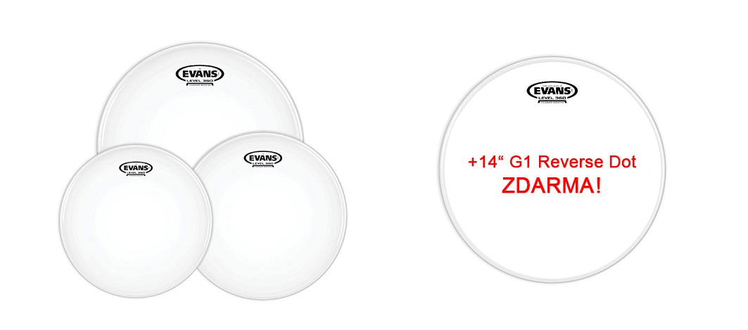 "Evans G2 Coated Standard set + 14"" G1 Reverse Dot for FREE"