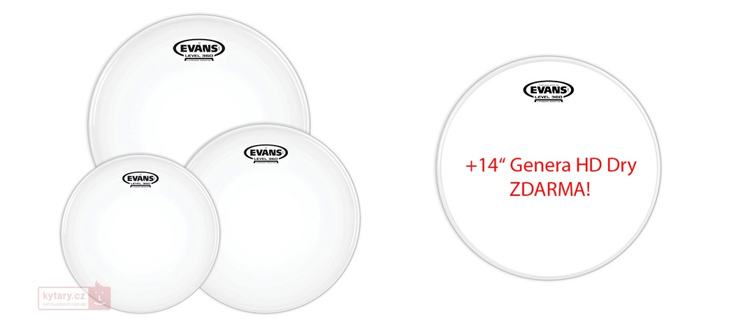 "Evans G2 Coated Fusion set + 14"" Genera HD Dry for FREE"