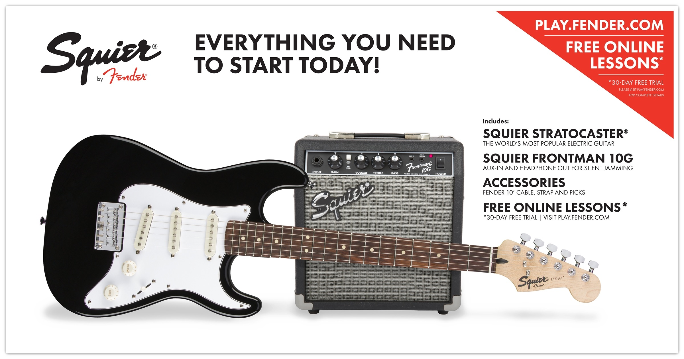Fender Squier Strat Short Scale Pack 10G BLK