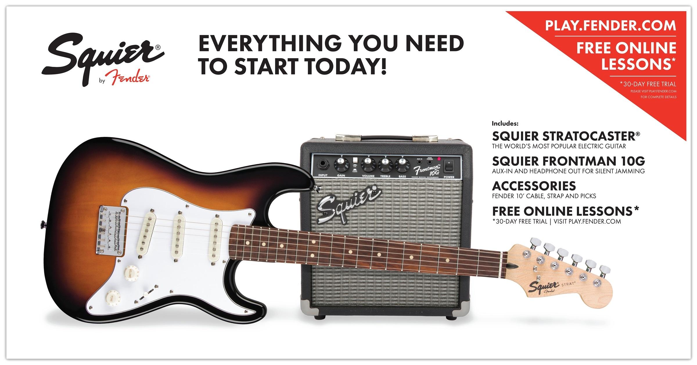 Fender Squier Strat Short Scale Pack 10G BSB