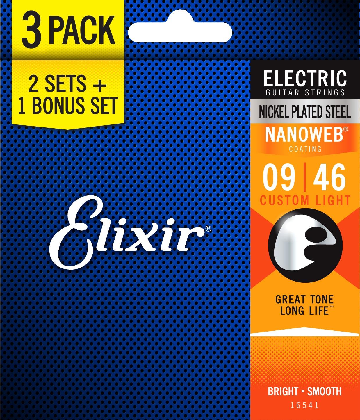 Elixir Nanoweb Custom Light 3-Pack