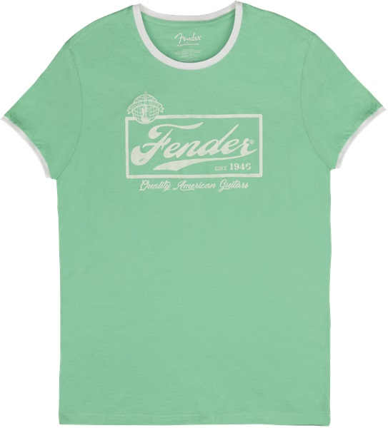 Fender Beer Label Ringer T-Shirt Surf Green S