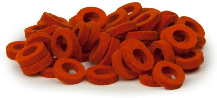 Bulldog Natural Felt Rings - Orange