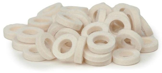 Bulldog Natural Felt Rings - Tinged White