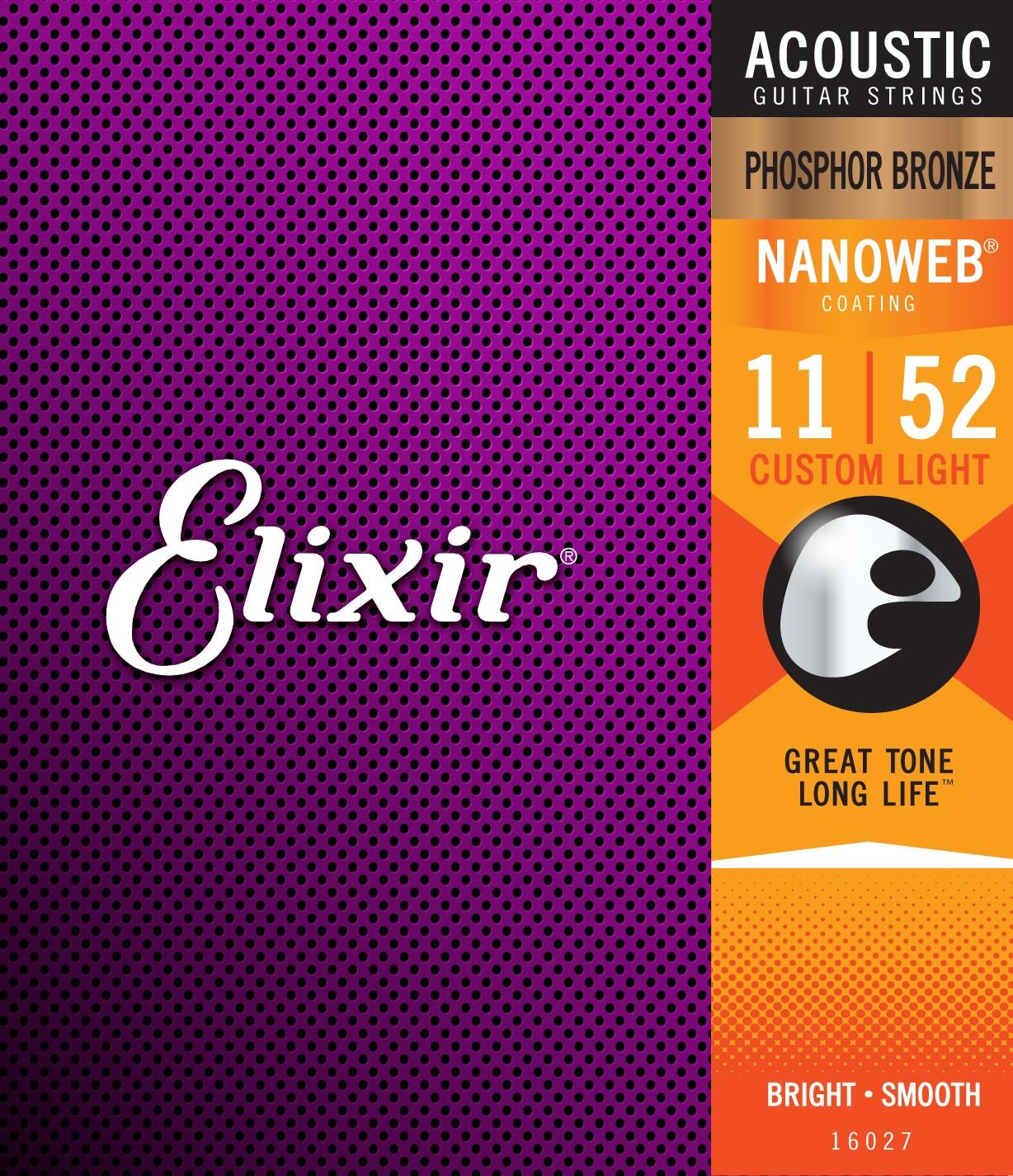 Elixir Nanoweb Phosphor Bronze Custom Light